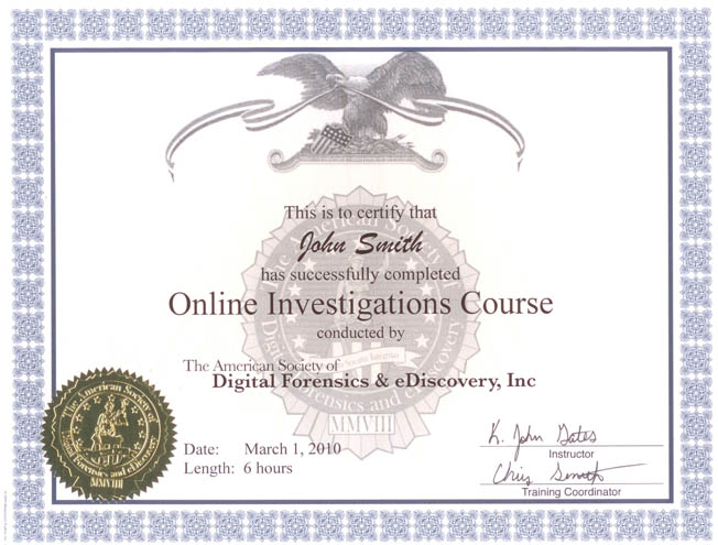 The American Society Of Digital Forensics Ediscovery Workshop
